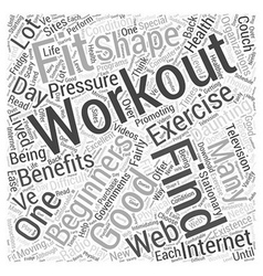 Workouts for beginners word cloud concept vector