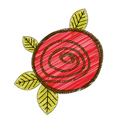 color pencil drawing of button red rose with vector image