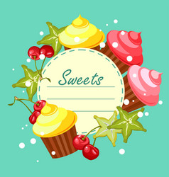 sweet cupcakes card vector image vector image