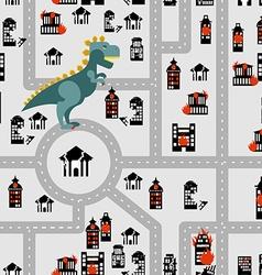 Aggressive dinosaur destroys urban building vector