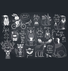 Cute forest animals set - chalkboard style cute vector