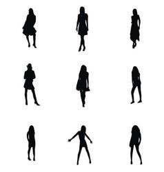Girl Silhouette Set vector image