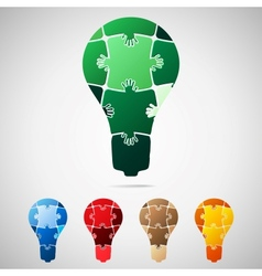 Lamp from puzzle pieces vector image