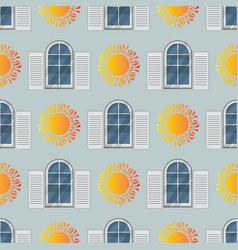 Seamless pattern of window and sun vector