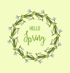 spring greeting card with snowdrops flower wreath vector image vector image