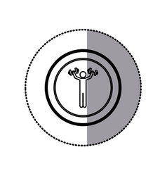 sticker of monochrome pictogram of man with vector image vector image