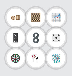flat icon play set of ace bones game chess table vector image vector image