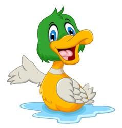 funny baby duck cartoon posing vector image vector image