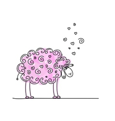 Funny pink sheep sketch for your design vector image vector image