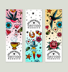 old school tattoo banners set vector image vector image