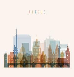 prague skyline detailed silhouette vector image