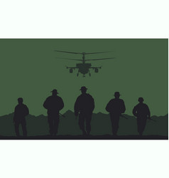 soldiers on the performance of the combat mission vector image vector image