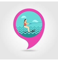 Water skiing pin map icon Summer Vacation vector image