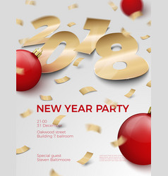 3d realistic new year invitation 2018 vector image