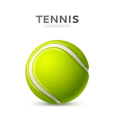 3d tennis ball green with curved line vector image