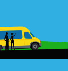 a boy and girl are traveling minibus vector image