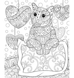 Adult coloring bookpage a cute cat on the pillow vector