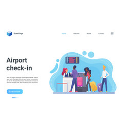 airport check-in terminal landing page vector image