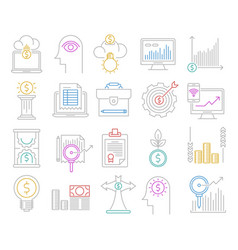 Analytics and investment icons vector