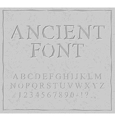 Ancient font Carved on stone plate alphabet vector image