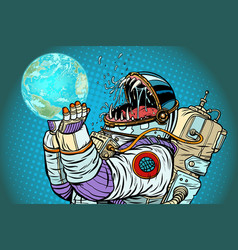 Astronaut monster earth planet greed and hunger vector