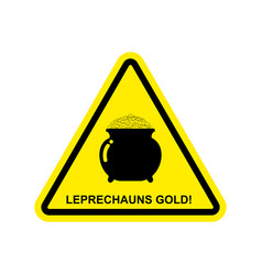 Attention leprechaun gold pot of golden coins on vector
