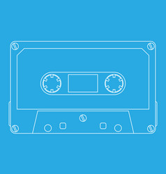 Audio tape cassette on cyan background vector