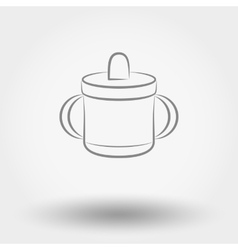 Baby cup line icon vector image