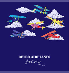 Background with airplanes vector
