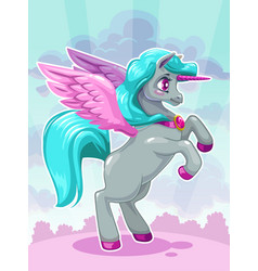 beautiful vactoon unicorn on fairy cloudy vector image