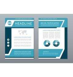 Blue brochure flyer layout template A4 size vector image