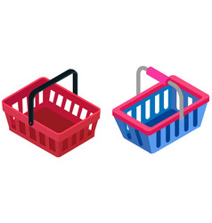 blue plastic shopping basket container for goods vector image