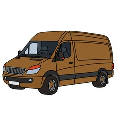 Brown delivery car vector image