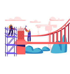 builder man building bridge with bricks vector image