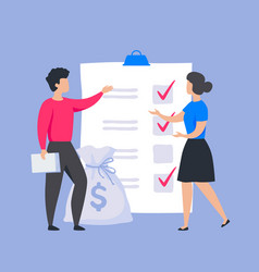 business checklist concept people put marks vector image