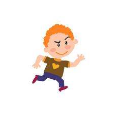 Cartoon character boy running vector