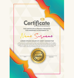 Certificate template with dynamic and futuristic vector
