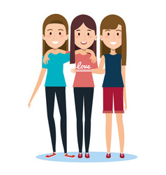 Characters embracing three friends on white vector