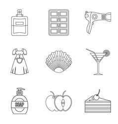 charming girl icons set outline style vector image
