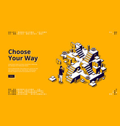 choose your way isometric landing page web banner vector image