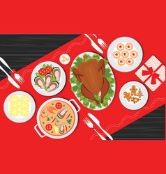Christmas food on the table table for festive vector