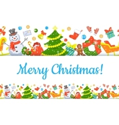 Christmas Symbols Background Horizontal Seamless vector image