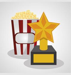 Cinema pop corn and trophy winner vector