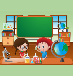 Classroom scene with kids doing science experiment vector