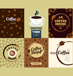 coffee posters cafe stain poster or spill splash vector image