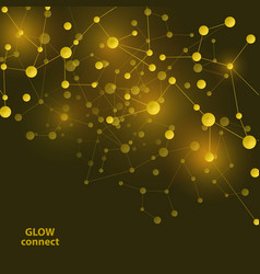 Connect gold lines abstract technology glowing vector