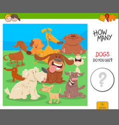 count the dogs activity worksheet game vector image