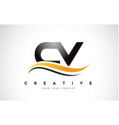 Cv c v swoosh letter logo design with modern vector