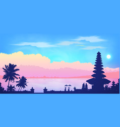 Dark balinese temple and palm trees silhouettes vector