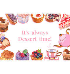 Dessert frame design with pie cupcake teapot vector